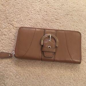 Coach Brown Leather Big Zip Wallet